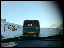 Being pulled out of the snow in Snowdonia